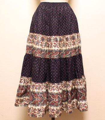 濃紺×白 ペイズリー柄 プロバンススカート