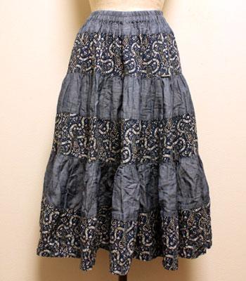 ブルーグレー×ネイビー ペイズリー柄 プロバンススカート