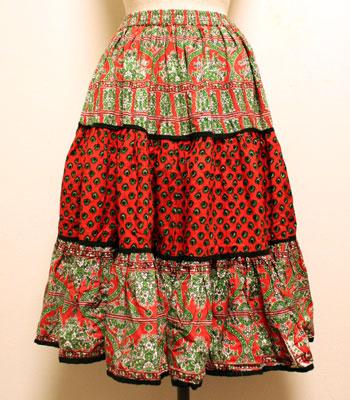 レッド×グリーン ペイズリー柄 プロバンススカート