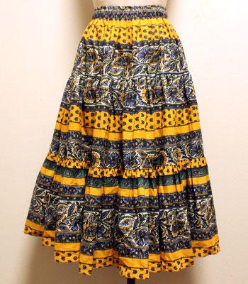 デッドストック インディゴブルー×イエロー ペイズリー柄 プロバンススカート