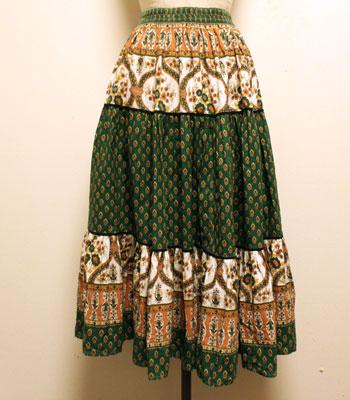 デッドストック 深緑×黄土色×白 ペイズリー柄 プロバンススカート