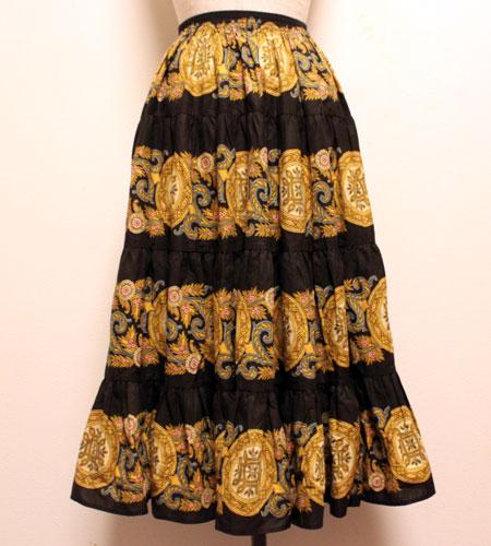 デッドストック ブラック×ゴールド ペイズリー柄 プロバンススカート