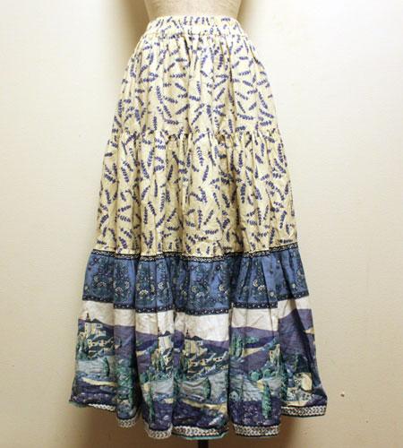 クリーム×水色 花柄 プロバンススカート