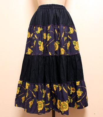 濃紺×ゴールド ひまわり柄 プロバンススカート
