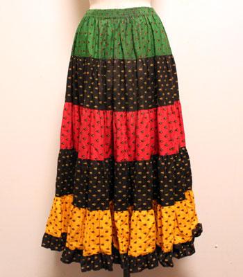 ブラック×レッド×イエロー×グリーン プロバンススカート