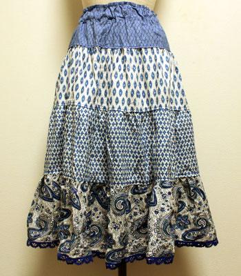 水色×白 ペイズリー柄 プロバンススカート