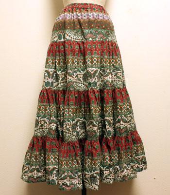 ペイズリー柄 ワインレッド×緑×白 プロバンススカート