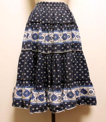 ネイビー×白 花柄とペイズリー柄 プロバンススカート