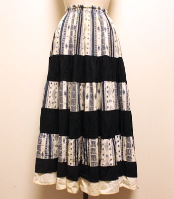 ネイビー×白 ペイズリー柄 プロバンススカート