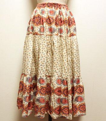 デッドストック ピンク×オフホワイト ペイズリー柄 プロバンススカート