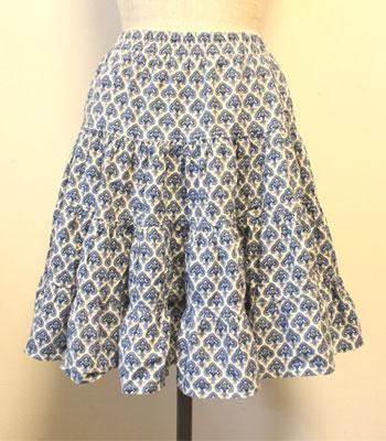 ショート丈 ブルー ペイズリー柄 プロバンススカート