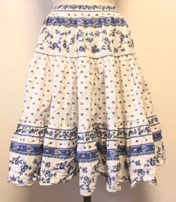 ブルー×白 ボタニカル柄 プロバンススカート