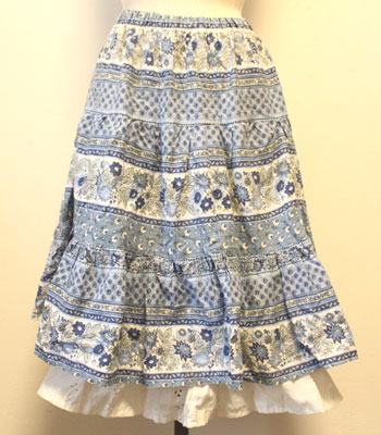 ブルー ぺチ付 花柄 プロバンススカート