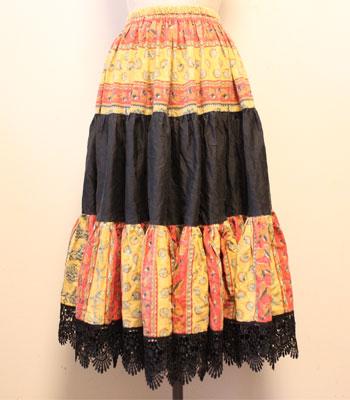 ブラック×マスタード×レッド 貝殻柄 プロバンススカート
