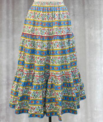 白X水色X黄 花柄のプロヴァンススカート