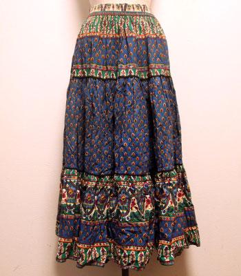 デッドストック ブルー×グリーンのペイズリー柄 アトリエプロバンサル プロバンススカート
