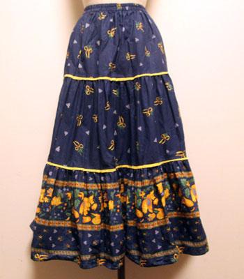 デッドストック ネイビー×イエロー 花柄のプロバンススカート