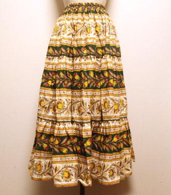 イエロー×白×グリーン 花柄とペイズリー柄 プロバンススカート