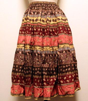 小豆色×イエロー ペイズリー柄 プロバンススカート