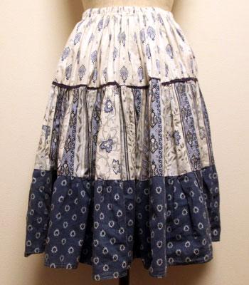 ブルー×白 ペイズリー柄 プロバンススカート