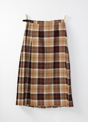 ベージュXブラウン キルトスカート