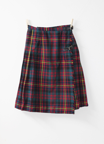 ブルーグリーンXレッド キルトスカート