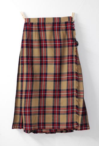 ライトブラウンXレッド キルトスカート