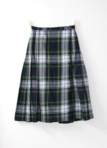グリーンXホワイト キルトスカート