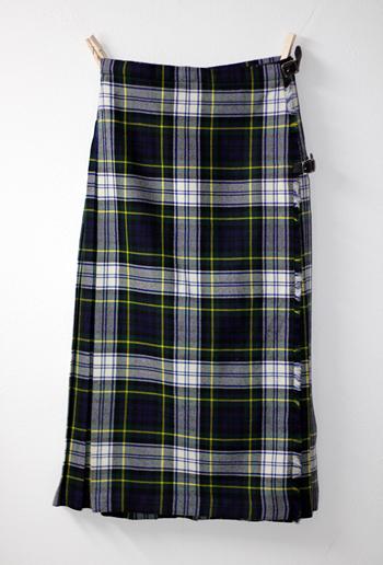 グリーン×ホワイト スコットランド製 キルトスカート