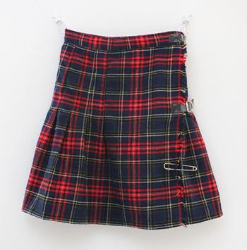 ネイビー×レッド キルトスカート