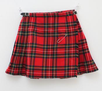 デッドストック 赤のタータンチェック キルトスカート