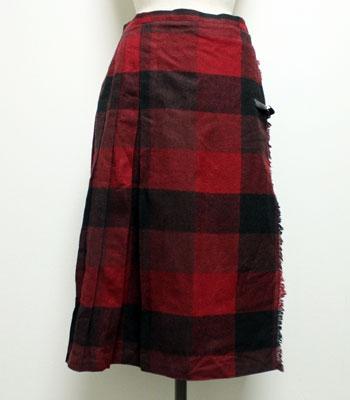 ワインレッド×ブラック キルトスカート