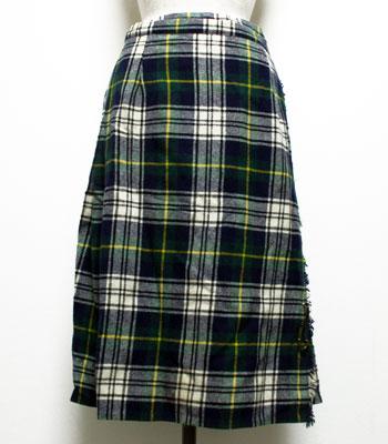 グリーン×ホワイト キルトスカート