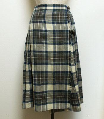 ブルー×白 キルトスカート