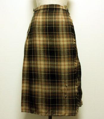 ブラック×ブラウン キルトスカート