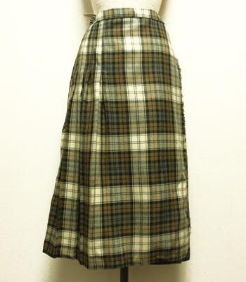 モスグリーン×オフホワイト キルトスカート