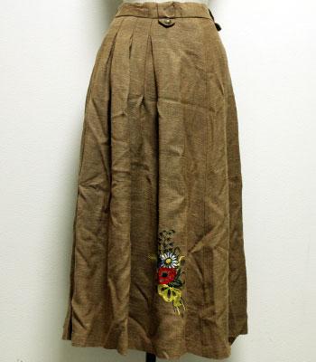 モカ リネンのチロリアンスカート