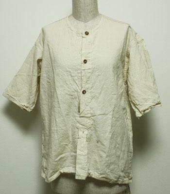 1950年代 生成り アンティークリネン デッドストック グランパシャツ