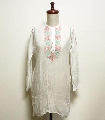 白 インド綿のチュニック