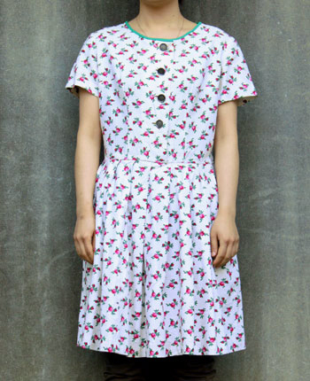 花柄×リネン チロリアンワンピース